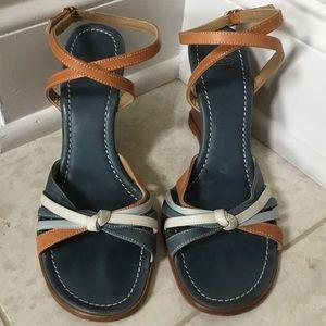 Coach blue Trista ankle wrap wedge sandal 7M